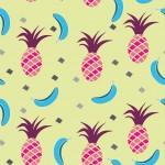 Pink ananász kék banánokkal design egyedi szublimált textil méteráruhoz