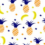 Ananász és banán design egyedi szublimált textil méteráruhoz