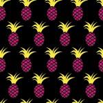 Pink ananászok fekete alapon design egyedi szublimált textil méteráruhoz