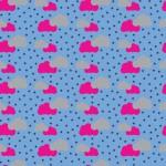 Szürke és pink felhők design egyedi szublimált textil méteráruhoz