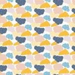 Pöttyös felhők design egyedi szublimált textil méteráruhoz