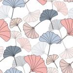 Ginkgo biloba szürke rózsaszín design egyedi szublimált textil méteráruhoz