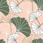 Púder ginkgo design egyedi szublimált textil méteráruhoz