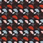 Ginkgo biloba piros kék design egyedi szublimált textil méteráruhoz