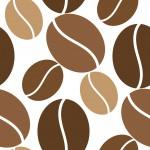 Kávészemek fehér alapon design egyedi szublimált textil méteráruhoz
