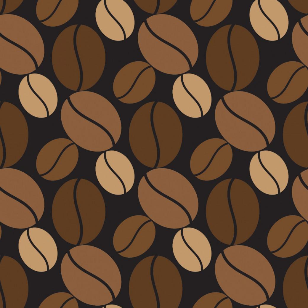 Kávészemek fekete alapon design egyedi szublimált textil méteráruhoz