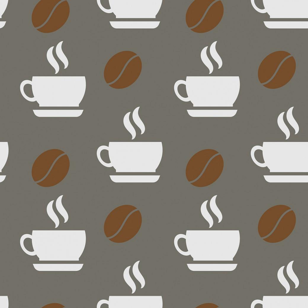 Kávéscsésze szürke alapon design egyedi szublimált textil méteráruhoz