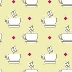 Kávéscsésze sárga alapon design egyedi szublimált textil méteráruhoz