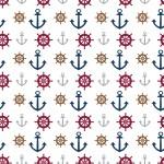 Horgonyok és kormánykerék design egyedi szublimált textil méteráruhoz