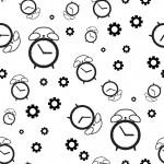 Fekete óra és fogaskerék design egyedi szublimált textil méteráruhoz