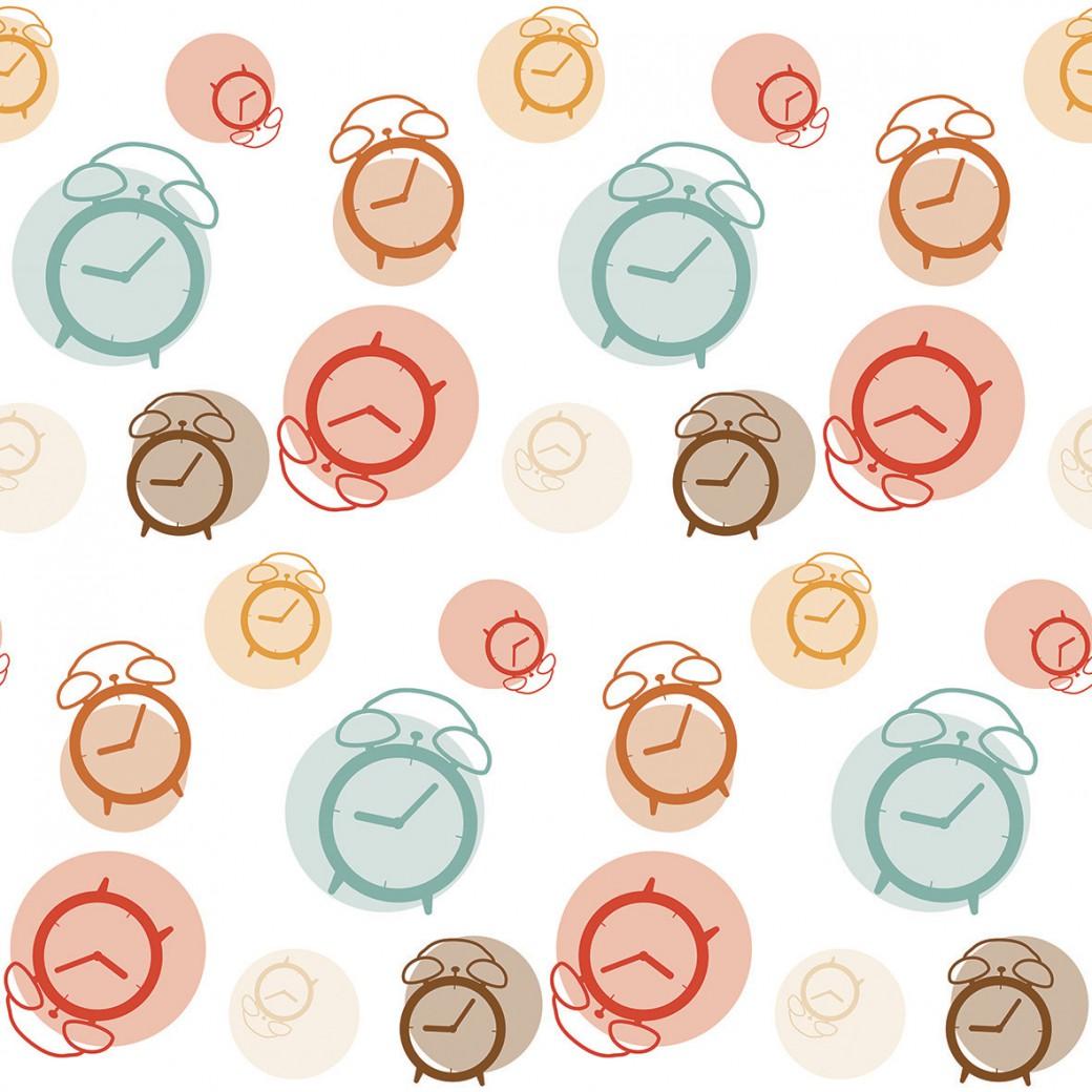 Egyedi asztalterítő színes órák mintával Pompoint egyedi