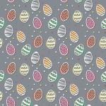 Húsvéti tojás szürke alapon design egyedi szublimált textil méteráruhoz