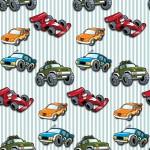 Autók kék csíkos alapon design egyedi szublimált textil méteráruhoz
