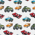Autók szürke csíkos alapon design egyedi szublimált textil méteráruhoz