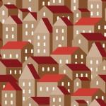 Barna házak design egyedi szublimált textil méteráruhoz