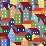 Színes házak design egyedi szublimált textil méteráruhoz