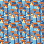 Kék és narancs házak design egyedi szublimált textil méteráruhoz