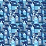 Kék házak design egyedi szublimált textil méteráruhoz