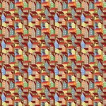 Színes házak 2 design egyedi szublimált textil méteráruhoz
