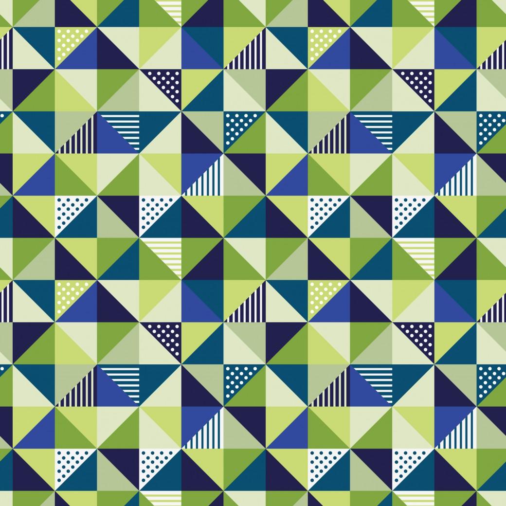 Kék és zöld kockás háromszögek design egyedi szublimált textil méteráruhoz