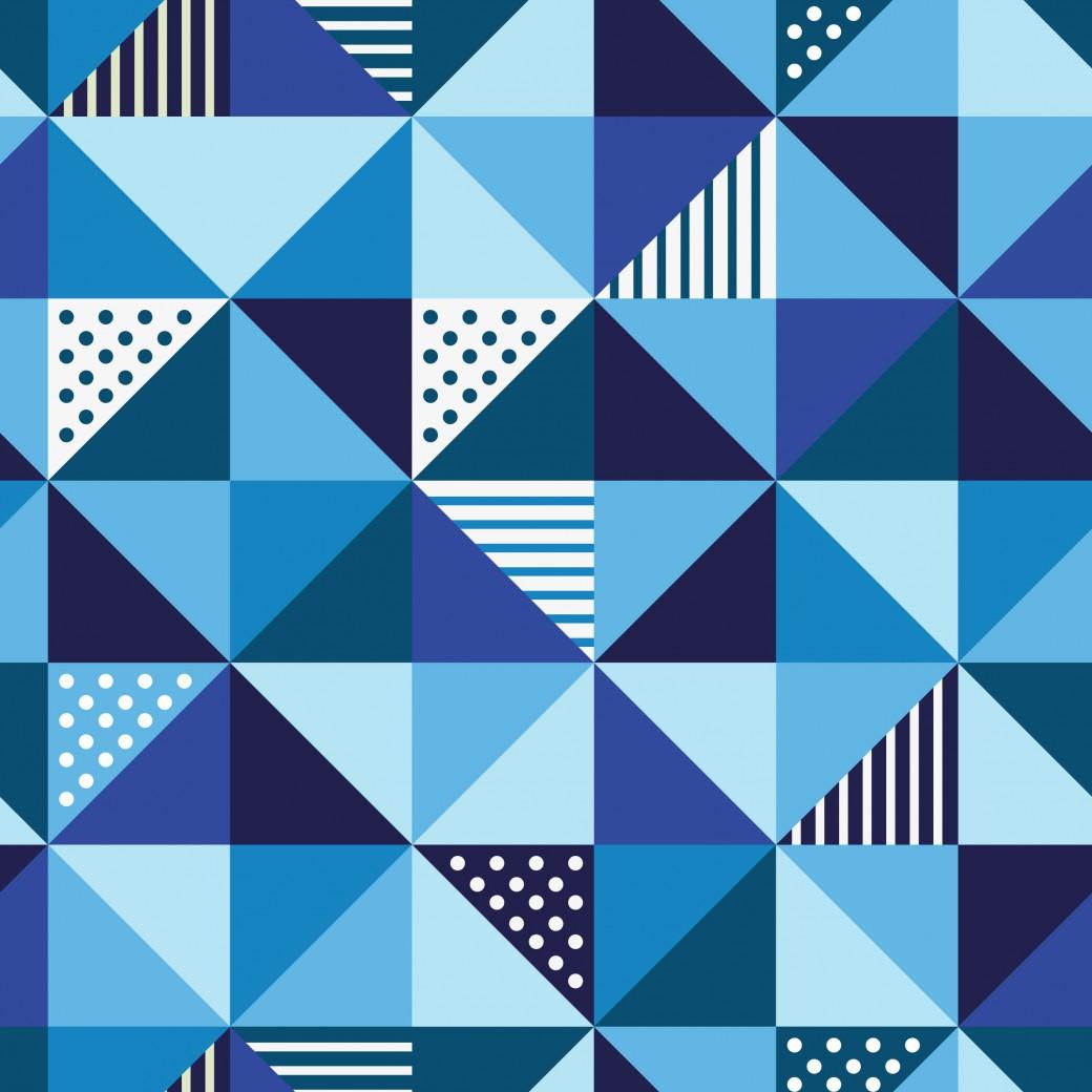 Kék kockás háromszögek design egyedi szublimált textil méteráruhoz