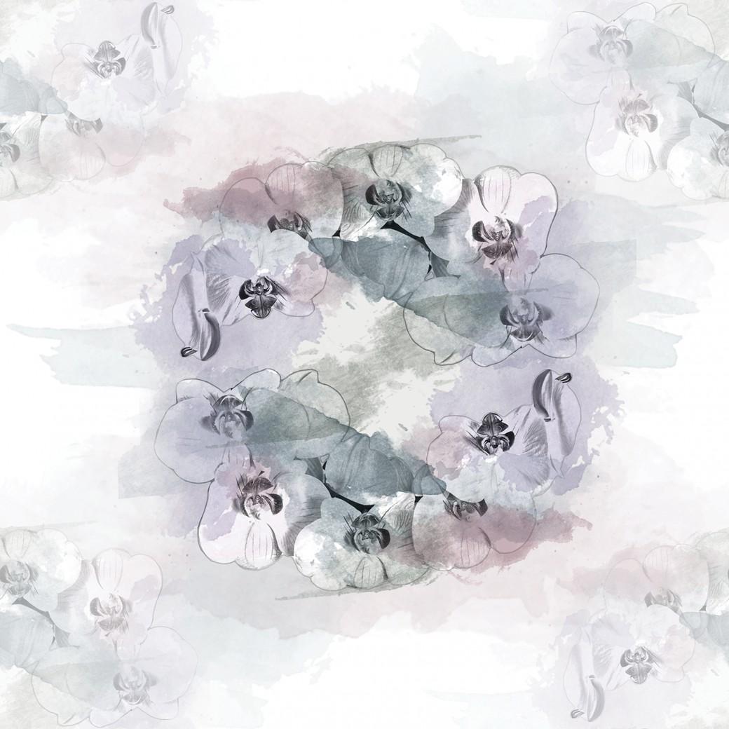 Akvarell orchidea feketés design egyedi szublimált textil méteráruhoz