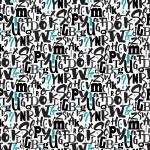 Kék és fekete betűk design egyedi szublimált textil méteráruhoz