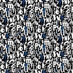 Kék és fehér betűk design egyedi szublimált textil méteráruhoz