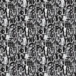 Szürke alapon betűk design egyedi szublimált textil méteráruhoz