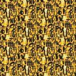 Sárga alapon betűk design egyedi szublimált textil méteráruhoz
