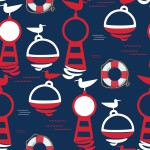 Bóják sötétkék alapon design egyedi szublimált textil méteráruhoz