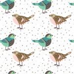 Türkiz és barna madárkák design egyedi szublimált textil méteráruhoz