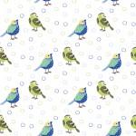 Kék és zöld madárkák design egyedi szublimált textil méteráruhoz