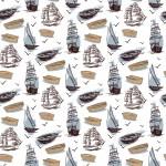 Csónakok fehér alapon design egyedi szublimált textil méteráruhoz