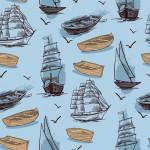 Csónakok kék alapon design egyedi szublimált textil méteráruhoz