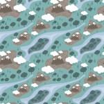 Hegyek és folyó design egyedi szublimált textil méteráruhoz