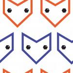 Smaragd szemű róka kék narancs design egyedi szublimált textil méteráruhoz