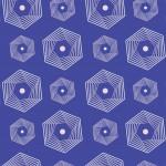 Hatszög spirál indigo alapon design egyedi szublimált textil méteráruhoz