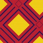 Geometrikus négyzet piros sárga design egyedi szublimált textil méteráruhoz