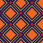 Geometrikus négyzet kék narancs design egyedi szublimált textil méteráruhoz