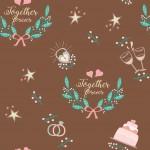 Esküvői minta barna alapon design egyedi szublimált textil méteráruhoz