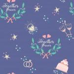 Esküvői minta lila alapon design egyedi szublimált textil méteráruhoz