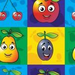 Mosolygó gyümölcsök design egyedi szublimált textil méteráruhoz