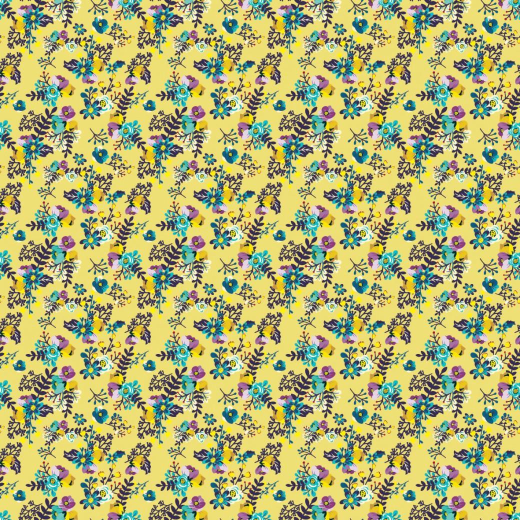 028f95fab5 Apró virág minta sárga alapon design egyedi szublimált textil méteráruhoz
