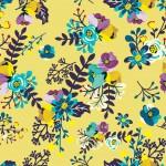Apró virág minta sárga alapon design egyedi szublimált textil méteráruhoz