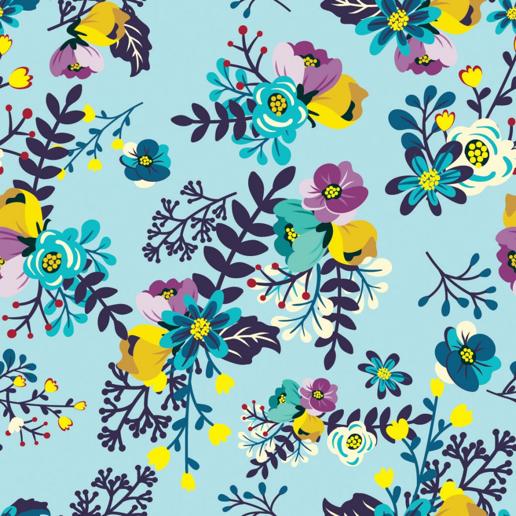 31b2adaa64 Apró virág minta kék alapon design egyedi szublimált textil méteráruhoz