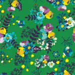 Apró virág minta zöld alapon design egyedi szublimált textil méteráruhoz