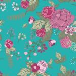 Rózsák türkizen design egyedi szublimált textil méteráruhoz