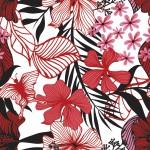 Pillangós virág pirosban design egyedi szublimált textil méteráruhoz