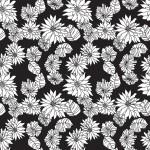 Krizantém feketén design egyedi szublimált textil méteráruhoz